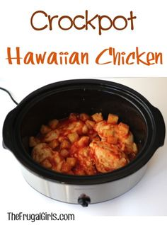 Crockpot Hawaiian Chicken Recipe! ~ from TheFrugalGirls.com ~ this simple dinner dish is such a delicious twist on your plain ol' chicken. The flavors pop! #slowcooker #recipes