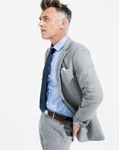 J.Crew men's Ludlow Traveler suiting, Ludlow basketweave cotton shirt, and mini-herringbone tie. To preorder call 800 261 7422 or email verypersonalstylist@jcrew.com.