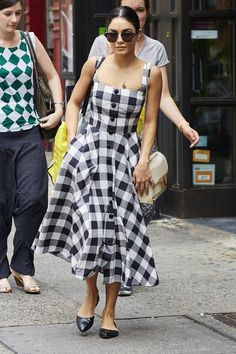 Who: Vanessa Hudgens What: A Ladylike Summer Dress Why: The Broadway actress runs errands with old school elegance in a fit and flare gingham dress. Get the Look Now:  Dolce & Gabbana dress, $1,282, shopBAZAAR.com.   - HarpersBAZAAR.com