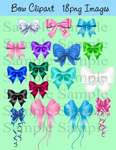 Bow clip art digital clip art INSTANT DOWNLOAD colorful bows - Digital Bow ClipArt - Personal Commercial Use on Etsy, $5.00