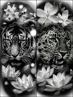 tiger leopard tattoo sketch with flowers