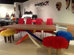 Fluffy, shaggy and quite wonderful Mongolian lamb's wool stools.   NOA living at High Point  2013