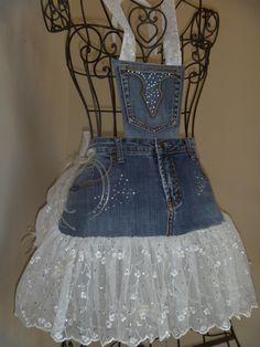 Cute idea for denim jeans..  Denim Aprons - Redneck Girl Aprons, L.L.C.