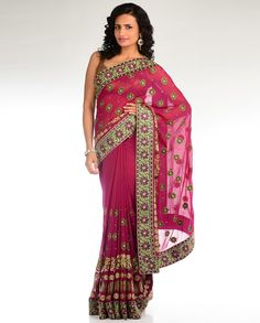 Magenta Pink Sari with Multicolored Embroidered Border
