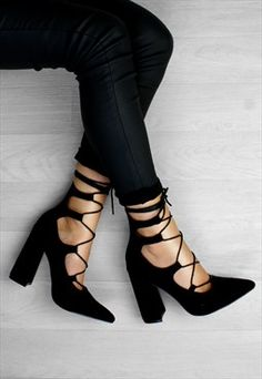 71b6c21e99ba Camilla Black Lace Up Pointed Block Heels In Suede Pointed Block Heel