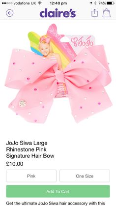 The new jojo bow that I want Jojo Siwa Hair, Jojo Siwa Bows, Jojo Bows, Birthday Gifts For Boys, Birthday Parties, Unicorn Nails, Cute Bows, Dance Moms