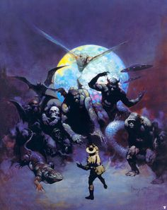 """""""Strange Creatures"""" from John Keel's """"Time and Space,"""" originally published in 1970 with artwork by Frank Frazetta, is a comprehensive encyclopedia of monsters from around the world. Frank Frazetta, Arte Sci Fi, Science Fiction, Arte Horror, Horror Art, Image Comics, New York City, Indiana Jones Films, Illustrator"""