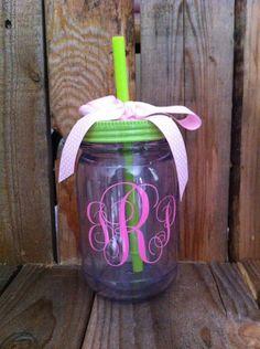 Monogram+mason+jar+tumbler+Customizable+16+by+southernyankeegirls,+$18.00