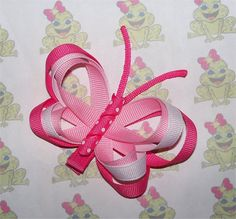 Pink BUTTERFLY Hair Clip (Ribbon Sculpture) via Etsy