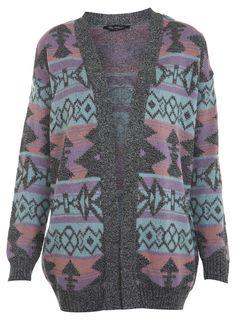 Mint Aztec Cardi - Jumpers & Cardigans - Clothing - Miss Selfridge
