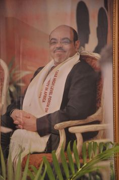 A picture of Prime Minister Meles Zenawi displayed at the 2013 Tana Forum in Bahir Dar, Ethiopia.