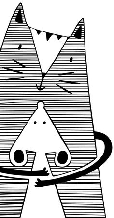 Hug Me Poster Black and White Cat Decor Cat Desk Accessories Cat Office Supplies Kids Room Illustration Monochrome Nursery Wall Art