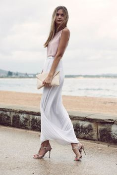 chic on the beach - I like the monotone vibe here - we can do the same against your great complexion and dark hair!