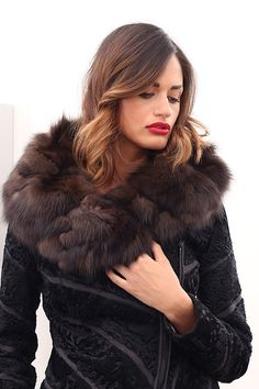 Swakara fur with barguzinsky russian sable and whole skins. Made in Italy. Skins Quality: KOPENHAGEN FUR PLATINUM – SOJUZPUSNINA; Color: Black – Brown; Closure: With Zip; Collar: Shawl; Lining: 100% Satin; Lining Color: Black, Monocolor; Length: 50 cm; #elsafur #fur #furs #furcoat #coat #mink #minkcoat #cappotto #peliccia #pellicce #НОРКА #ЛИСА #СОБОЛЬ #ШИНШИЛЛА #РЫСЬ #КОЖА #ПИТОНА #АКСЕССУАРЫ #ДРУГОЕ