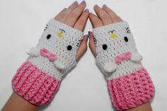 Cute!! Cat Fingerless Gloves, Crochet Gloves