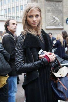 go the moto. #AnnaSelezneva #offduty in Paris.