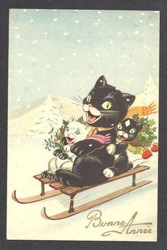 CPA Chat Cat Position Humaine Non Circulé Luge Sport D'Hiver | eBay