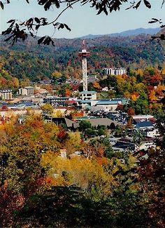Birdseye view of Gatlinburg, TN.