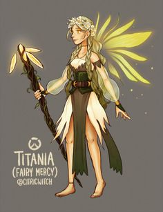 Another skin concept. I'm sure I'm not the only who thought of fairy Mercy! (Check out my other Overwatch fanart) Overwatch Comic, Overwatch Costume, Overwatch Fan Art, Overwatch Memes, Overwatch Skin Concepts, Character Art, Character Design, Character Inspiration, Skins Characters