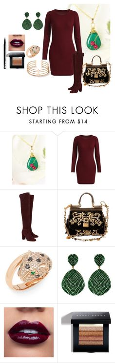 """Jewelry, Green emerald, Genuine Emerald and ruby pendant, 14KY gold fill, Emerald jewelry, 40th anniversary, FREE Domestic Shipping"" by bamasbabes ❤ liked on Polyvore featuring Aquazzura, Dolce&Gabbana, Effy Jewelry, Bobbi Brown Cosmetics and NYX"