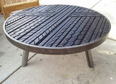 Table made from tire treads. Don't know where I would put it in my boys room, but this is so cool.