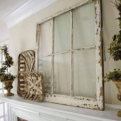 This but add an evergreen wreath for Christmas. //This mantle is to die for! That distressed window and those tobacco baskets, sigh. Thanks for sharing Farmhouse Mantel, Modern Farmhouse Decor, Farmhouse Style, Farmhouse Ideas, Modern Decor, Modern Design, Plant Ledge Decorating, Country Decor, Rustic Decor