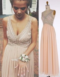 577465a9290 A Line V neckline Beading Prom Dress