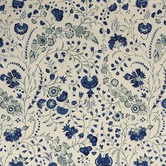 Soane, Dianthus Chintz in Lapis Linen Hand Printed Fabric, Printing On Fabric, Textile Printing, Textures Patterns, Print Patterns, Fabric Patterns, Textile Design, Fabric Design, Botanical Prints