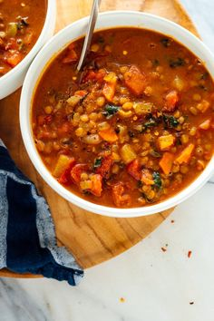 This lentil soup recipe is truly the BEST. It's hearty, fresh and nutritious, and loaded with fresh flavor. Vegetarian Cookbook, Vegetarian Recipes, Cooking Recipes, Vegan Vegetarian, Healthy Lentil Recipes, Best Healthy Recipes, Microwave Recipes, Vegetarian Dinners, Health Recipes
