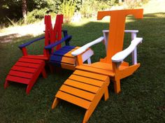Ole Miss Adirondack Chair, any football, baseball, basketball, or team logos. on Etsy, $125.00