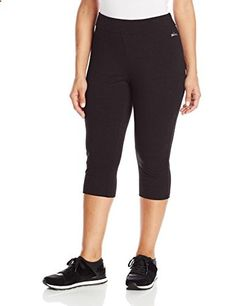 Spalding Women's Plus-Size Capri Legging, Black, 2X  Go to the website to read more description.