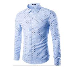 White Khaki Blue Polka Dot Dress Casual Mens Shirts
