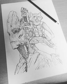 Working on a new project for my portfolio   #iamgroot #guardiansofthegalaxy #illustration #illustrator #sketch #studio #marvel #galaxy #groot #rocket #grootandrocket #blackandwhite #art #artist #pencil #gotg #character #charactersketch #workinprogress #wip #mastersofart by ksdubs