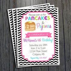 Pancakes and Pajamas Birthday Invitation - FREE Thank You Card included