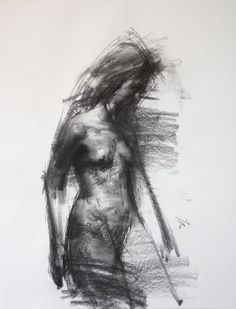 ARTFINDER: ALLEGRO NO.23 by Zin Lim - #Hybrid #crossover #expressive #figure #drawing with #primitive #charcoal by #ZinLim