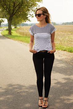 striped shirt, calvin klein heels, cat eye sunnies Cat Eye, Sunnies, Calvin Klein, Vegan Recipes, Lifestyle, My Style, Heels, Shirts, Tops