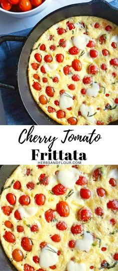Cheese, eggs and perfect little cherry tomatoes come together to make a delicious, healthy breakfast! Cherry Tomato Frittata is easy to make and quick too, making for an easy addition to your breakfast table!