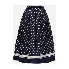 Polka Dot Print Box Pleated Midi Skirt - Navy ($30) ❤ liked on Polyvore featuring skirts, box pleat skirt, polka dot skirts, mid calf skirts, calf length skirts and blue skirt