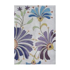 This beautiful hand-made rug from Alliyah is constructed of a New Zealand wool blend with a fun floral  pattern  featuring shades of light purple, soft olive green and blues.