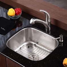 KRAUS All-in-One Undermount Stainless Steel 21 in. Single Bowl Kitchen Sink