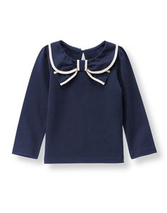 Girl Navy Bow Collar Top by Janie and Jack. Cotton Jersey, Keyhole Button Back, Machine Washable; Imported and Woodland Weekend Kids Outfits Girls, Shirts For Girls, Girl Outfits, Young Fashion, Tween Fashion, Women's Fashion, Kids Wardrobe, Collar Top, Girls Pants