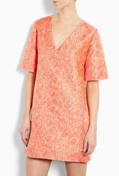 V-Neck Silk Jacquard Shift Dress by Richard Nicoll