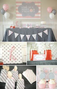 Cute as a Button Party Kit for birthday parties or baby showers | Undercover Hostess | Linens, Decor, Tableware