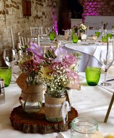 Wonderfully rustic theme with green and fuchsia as the colour guide . Banqueting Hall, #Pentney Abbey, Norfolk.