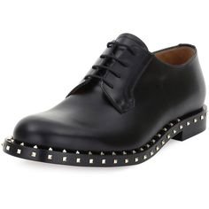 Valentino Rockstud Studded Lace-Up Derby Shoe (33.295 CZK) ❤ liked on Polyvore featuring men's fashion, men's shoes, men's dress shoes, black, men shoes oxfords, mens derby shoes, mens black dress shoes, mens oxford shoes, mens lace up dress shoes and mens lace up shoes