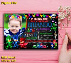 This is a Pj masks invitation, Pj masks party, Pj Masks Birthday, PJ Masks Banner, PJ Masks Instant Download, PJ Masks Invite, Pj Masks Card, Pj Masks of personal digital file for you to print yourself.   DETAILS: * Provided to you in digital file (JPEG Format) that will be fully customised with your information. * NO PHYSICAL ITEM WILL BE SHIPPED TO YOU! * You are free to print this file anywhere you wish.   TO ORDER: 1.Digital available in 5x7 or 4x6 2.Purchase this item and complete the…
