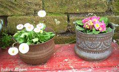 Vecchi contenitori diventano vasi e fioriere