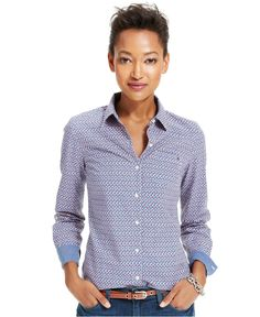 Tommy Hilfiger Printed Chambray-Trim Shirt - Tommy Hilfiger - Women - Macy's