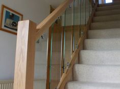 Solid oak balustrade with toughened glass,Upton.Chester