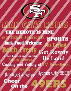 San Diego Chargers Man Cave Rules Wall Sign Printable Digital File